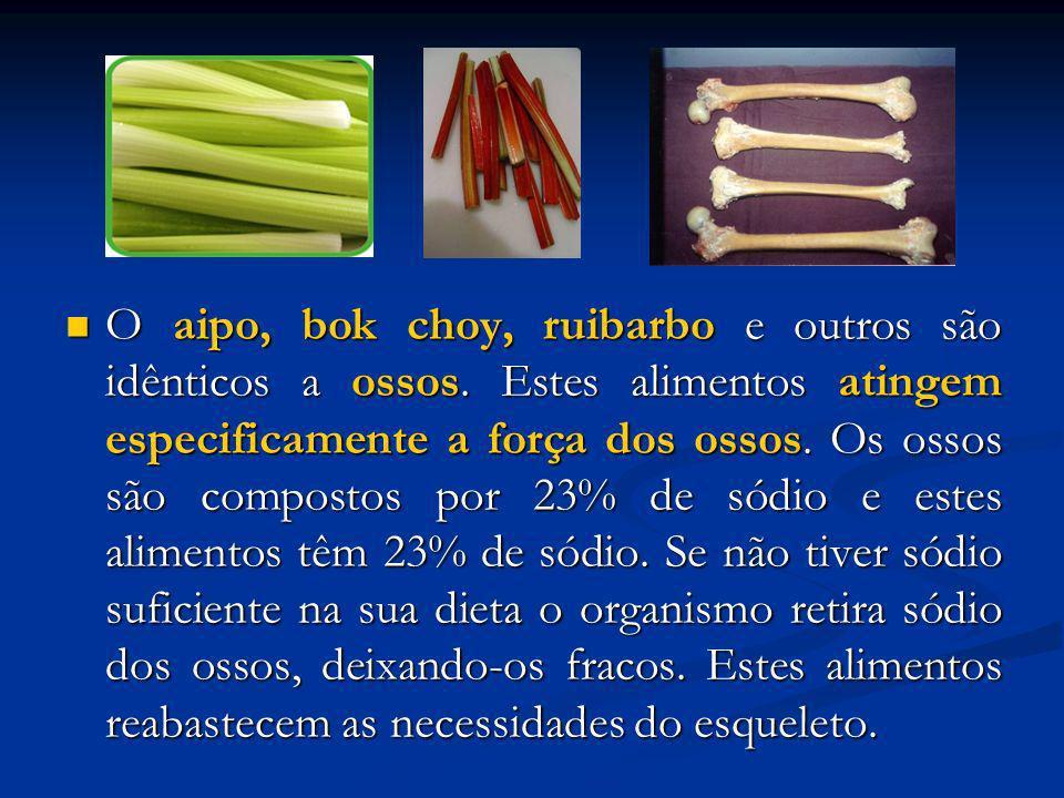 O aipo, bok choy, ruibarbo e outros são idênticos a ossos