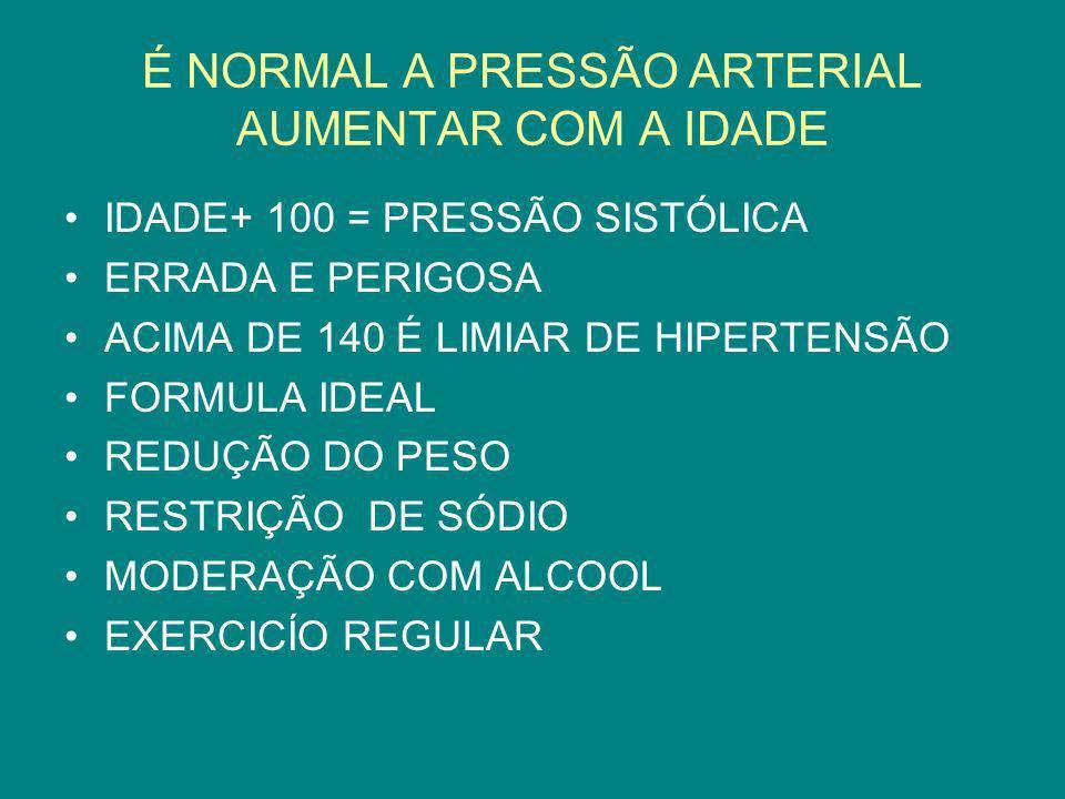 É NORMAL A PRESSÃO ARTERIAL AUMENTAR COM A IDADE