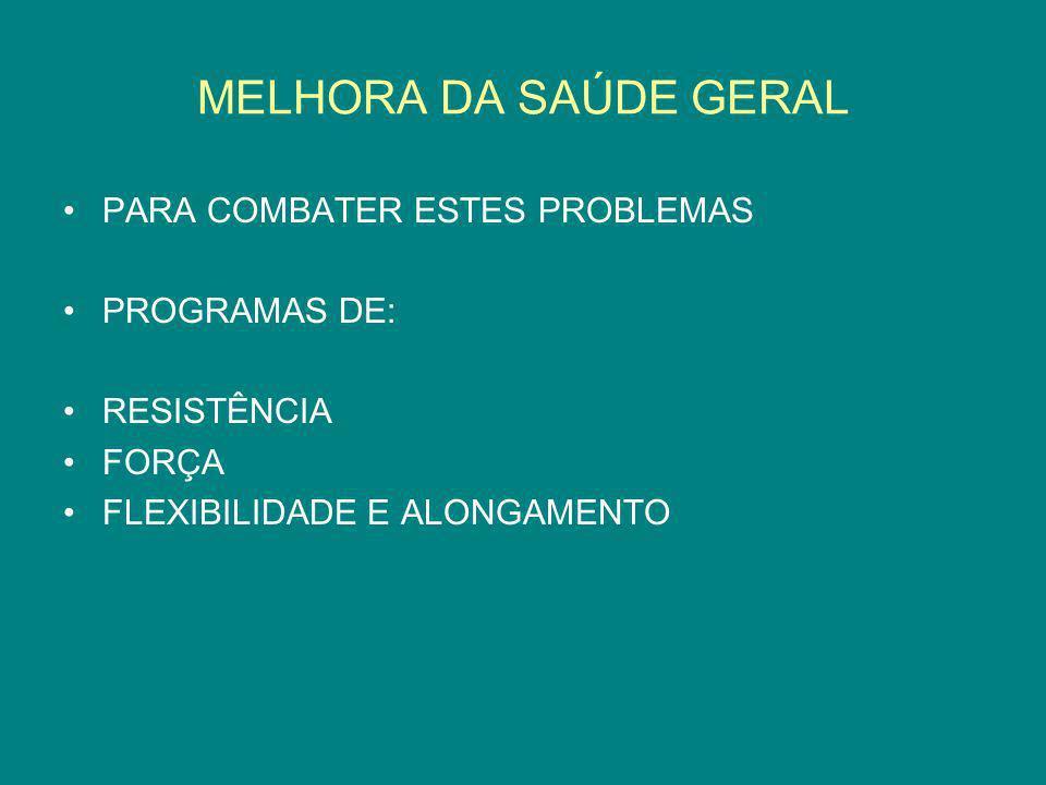 MELHORA DA SAÚDE GERAL PARA COMBATER ESTES PROBLEMAS PROGRAMAS DE: