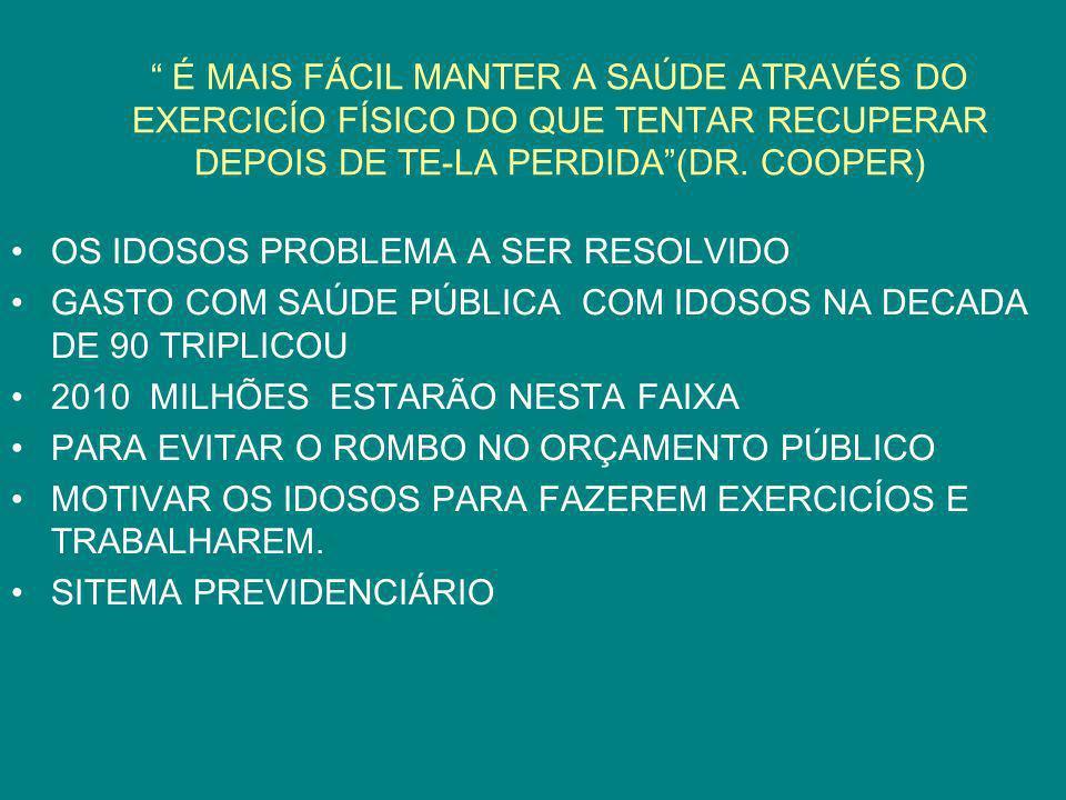 É MAIS FÁCIL MANTER A SAÚDE ATRAVÉS DO EXERCICÍO FÍSICO DO QUE TENTAR RECUPERAR DEPOIS DE TE-LA PERDIDA (DR. COOPER)