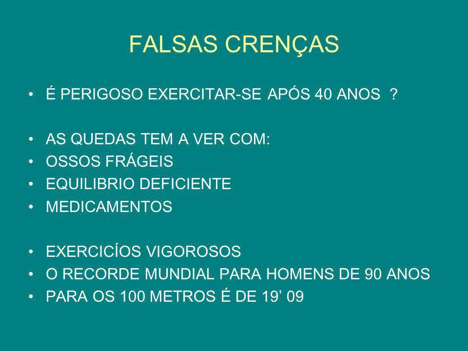 FALSAS CRENÇAS É PERIGOSO EXERCITAR-SE APÓS 40 ANOS