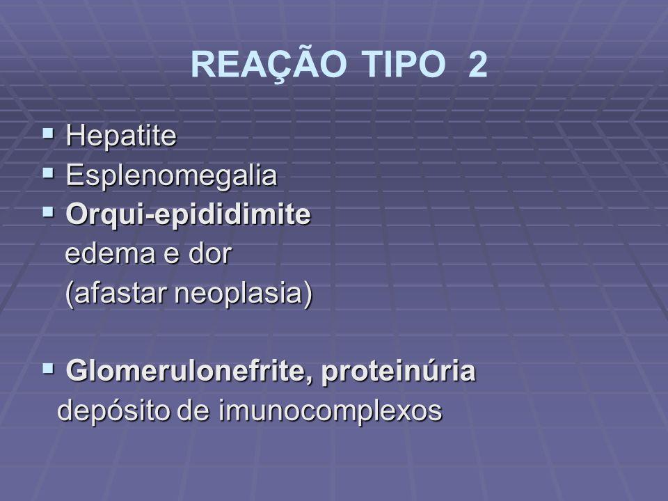 REAÇÃO TIPO 2 Hepatite Esplenomegalia Orqui-epididimite edema e dor