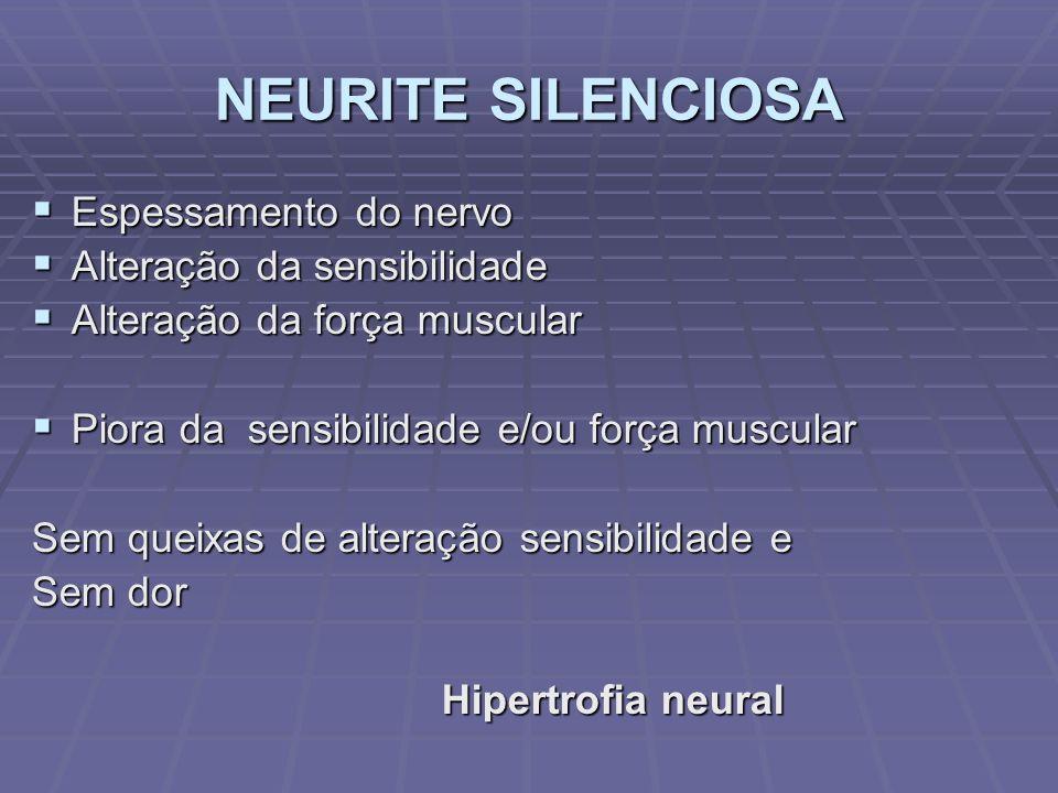 NEURITE SILENCIOSA Espessamento do nervo Alteração da sensibilidade