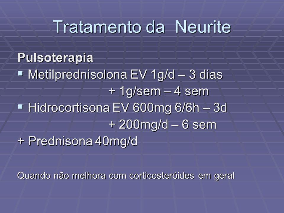 Tratamento da Neurite Pulsoterapia Metilprednisolona EV 1g/d – 3 dias