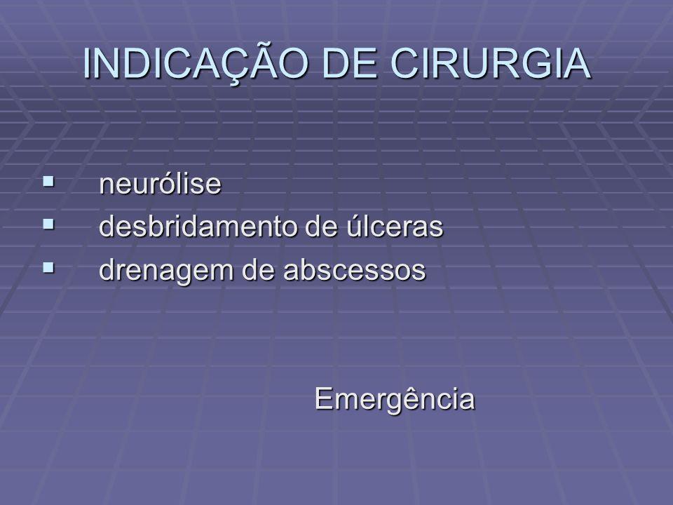 INDICAÇÃO DE CIRURGIA neurólise desbridamento de úlceras