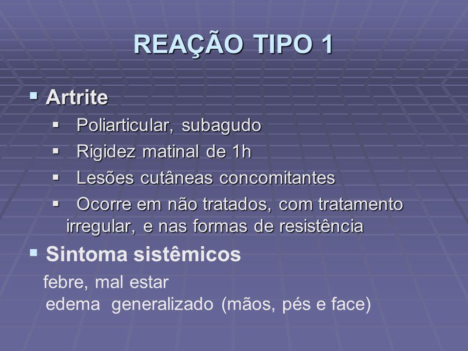 REAÇÃO TIPO 1 Artrite Sintoma sistêmicos Poliarticular, subagudo