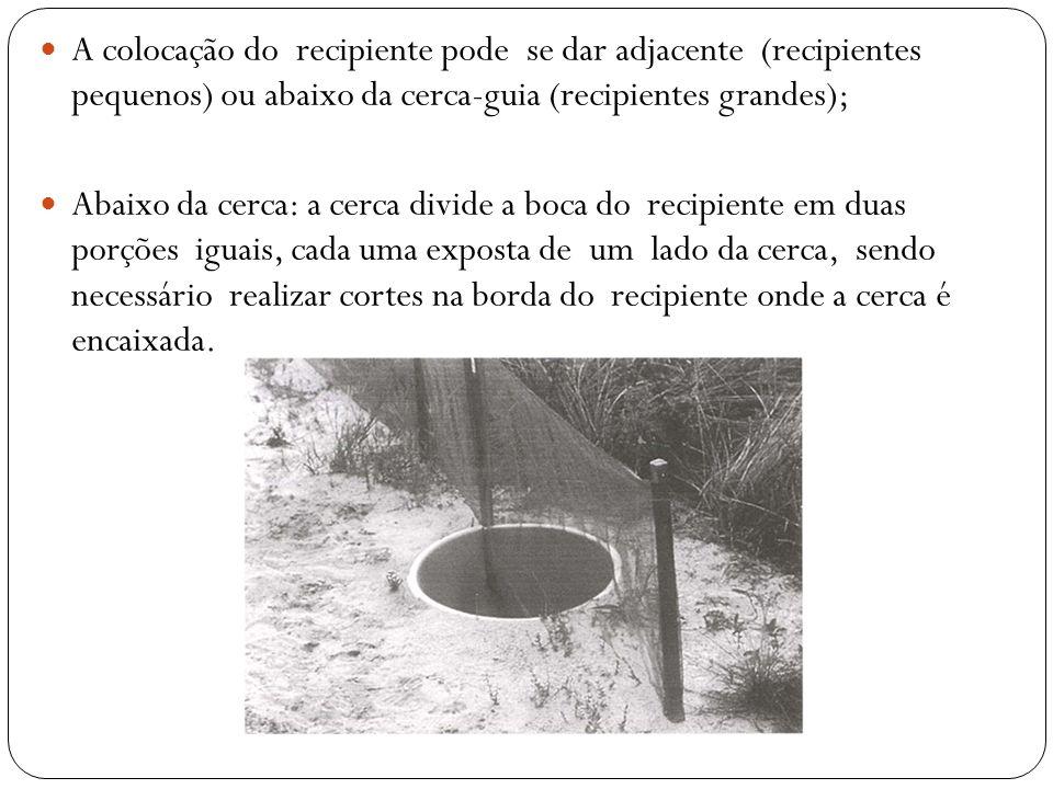 A colocação do recipiente pode se dar adjacente (recipientes pequenos) ou abaixo da cerca-guia (recipientes grandes);