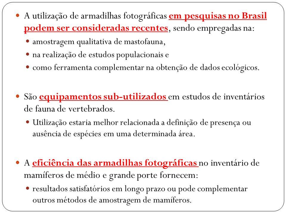 A utilização de armadilhas fotográficas em pesquisas no Brasil podem ser consideradas recentes, sendo empregadas na: