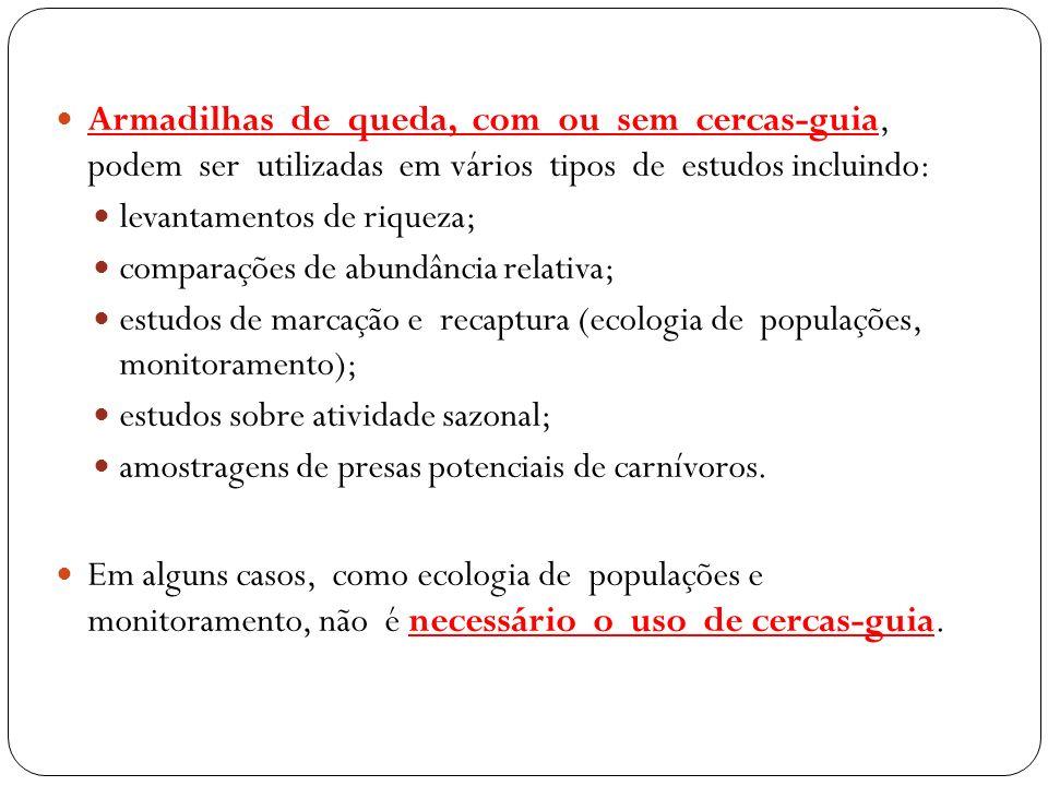 Armadilhas de queda, com ou sem cercas-guia, podem ser utilizadas em vários tipos de estudos incluindo: