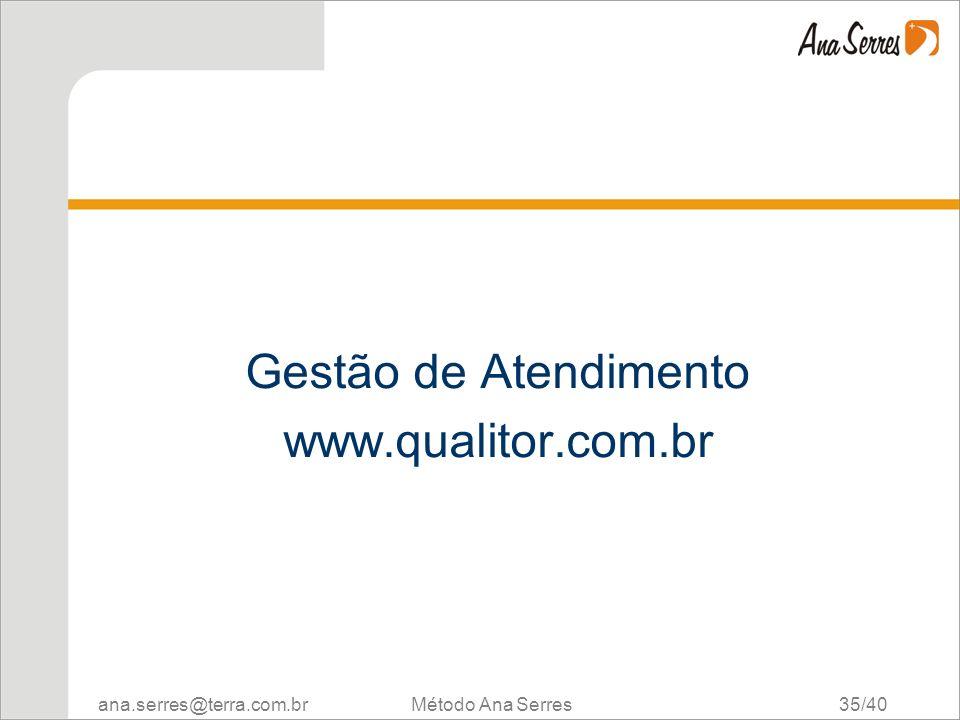 Gestão de Atendimento www.qualitor.com.br Método Ana Serres 35/40