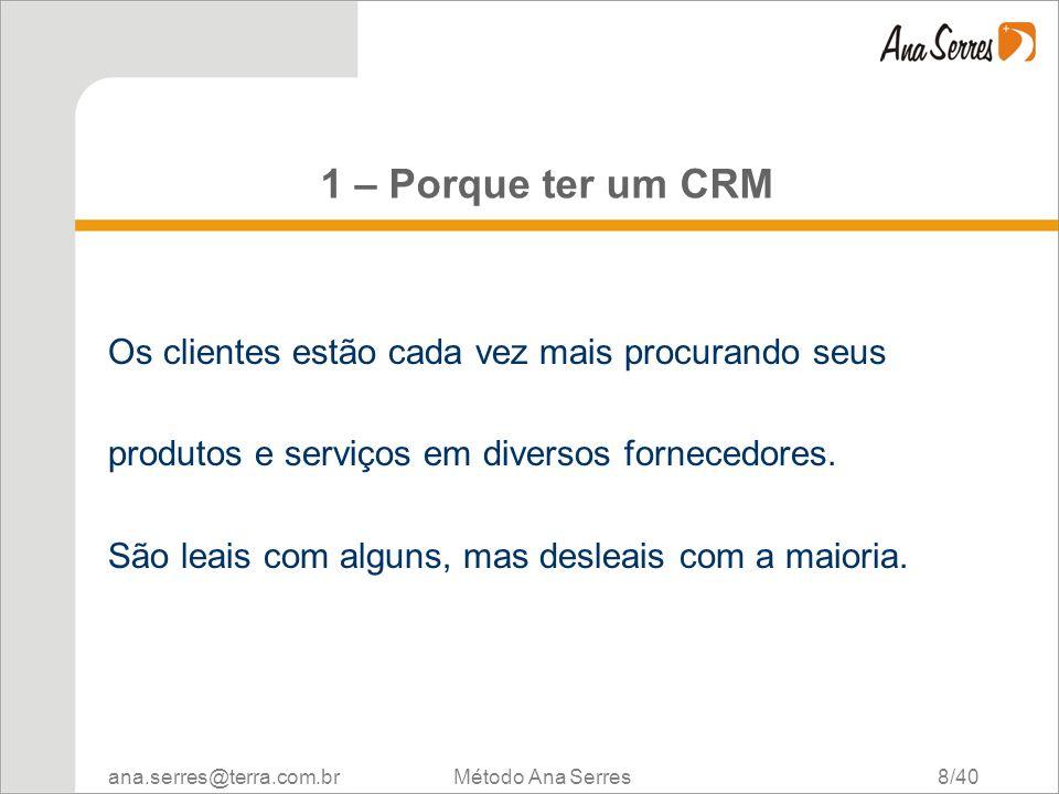 1 – Porque ter um CRM Os clientes estão cada vez mais procurando seus
