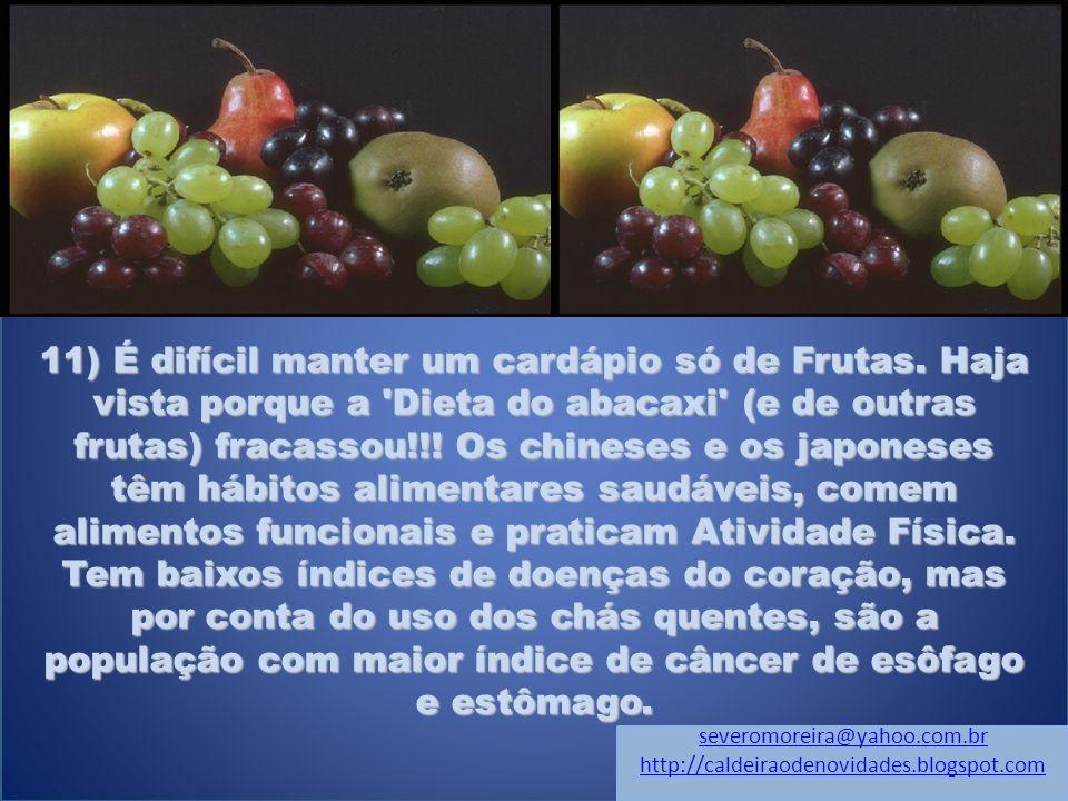 11) É difícil manter um cardápio só de Frutas