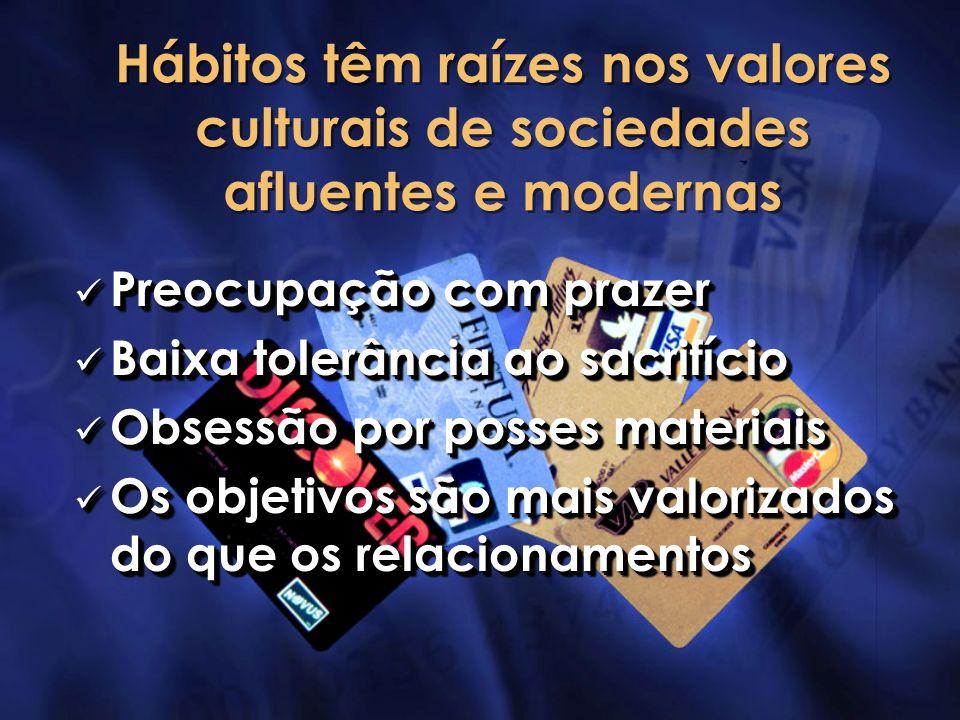 Hábitos têm raízes nos valores culturais de sociedades afluentes e modernas