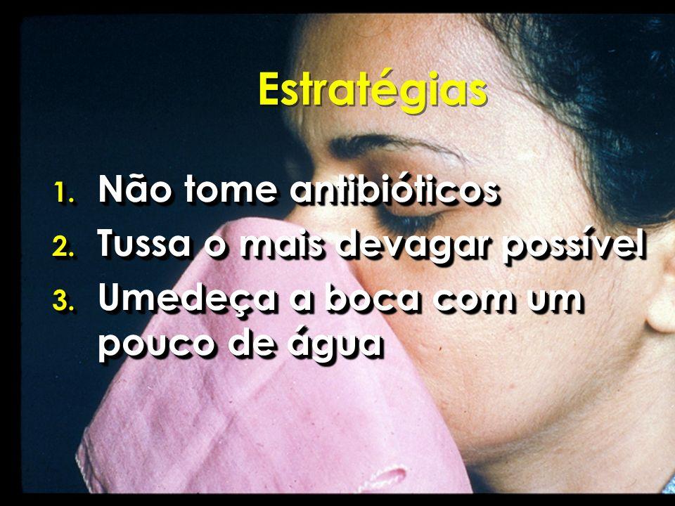 Estratégias Não tome antibióticos Tussa o mais devagar possível