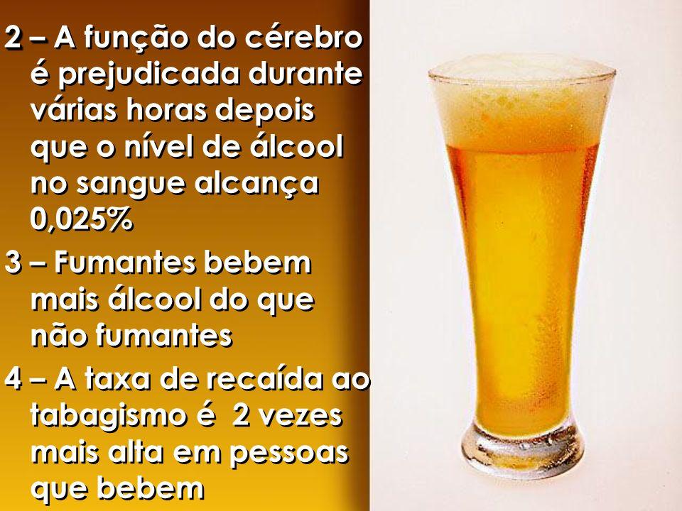 2 – A função do cérebro é prejudicada durante várias horas depois que o nível de álcool no sangue alcança 0,025%