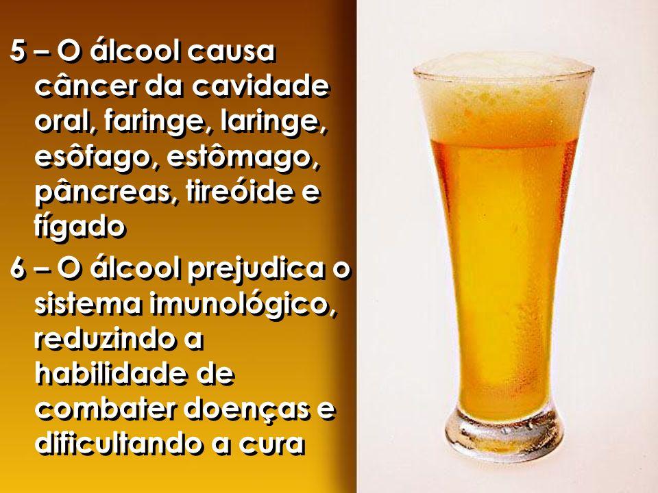 5 – O álcool causa câncer da cavidade oral, faringe, laringe, esôfago, estômago, pâncreas, tireóide e fígado