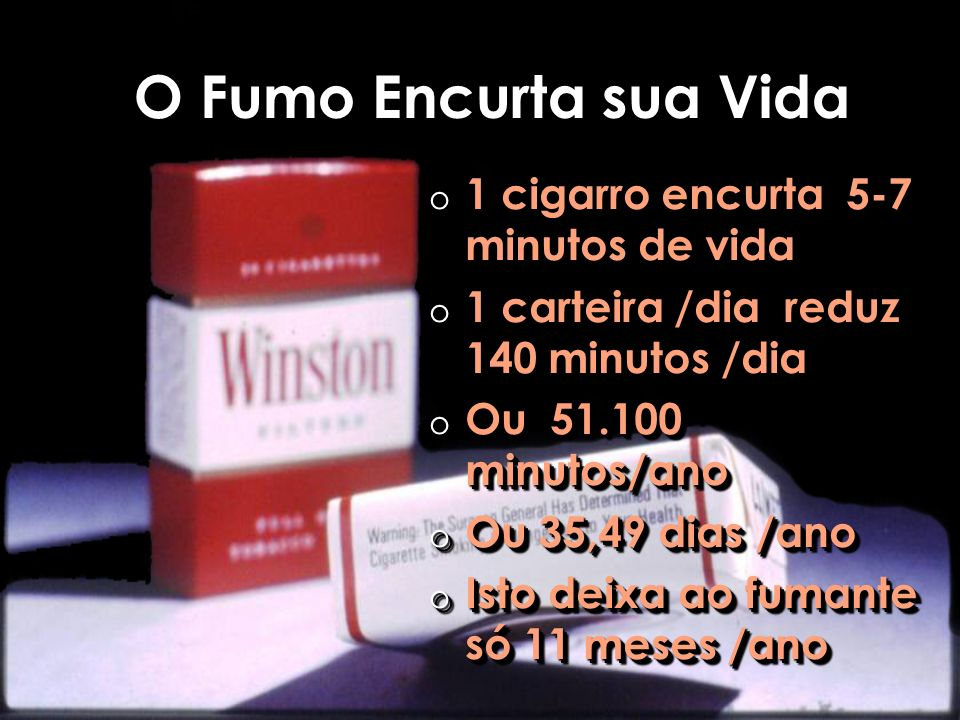 O Fumo Encurta sua Vida 1 cigarro encurta 5-7 minutos de vida