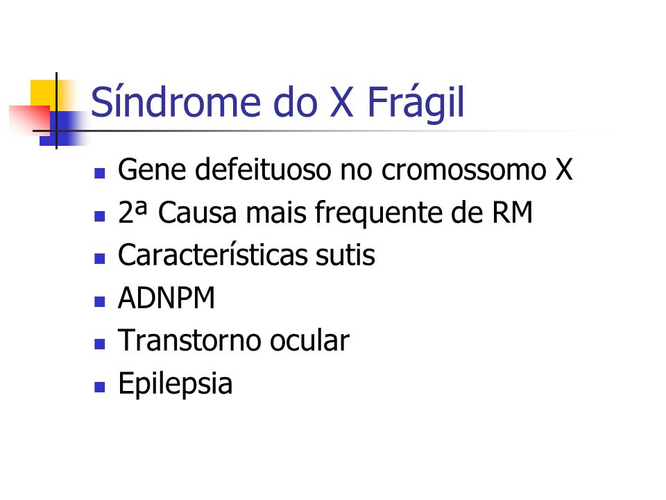 Síndrome do X Frágil Gene defeituoso no cromossomo X