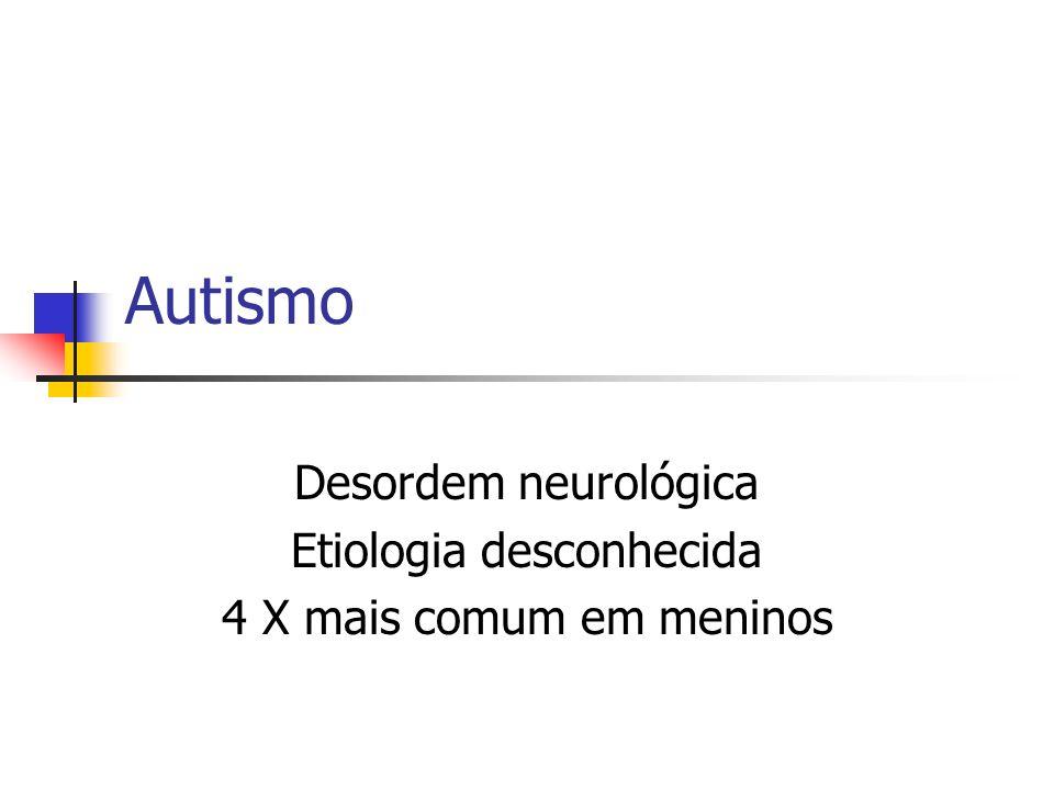 Desordem neurológica Etiologia desconhecida 4 X mais comum em meninos