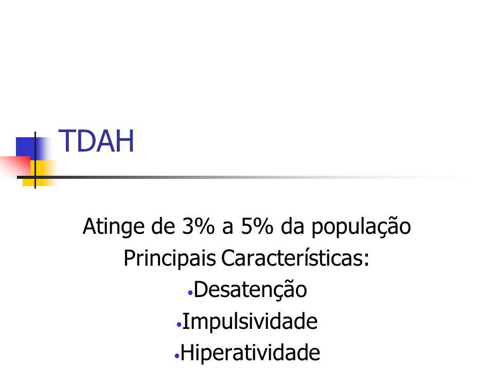 TDAH Atinge de 3% a 5% da população Principais Características: