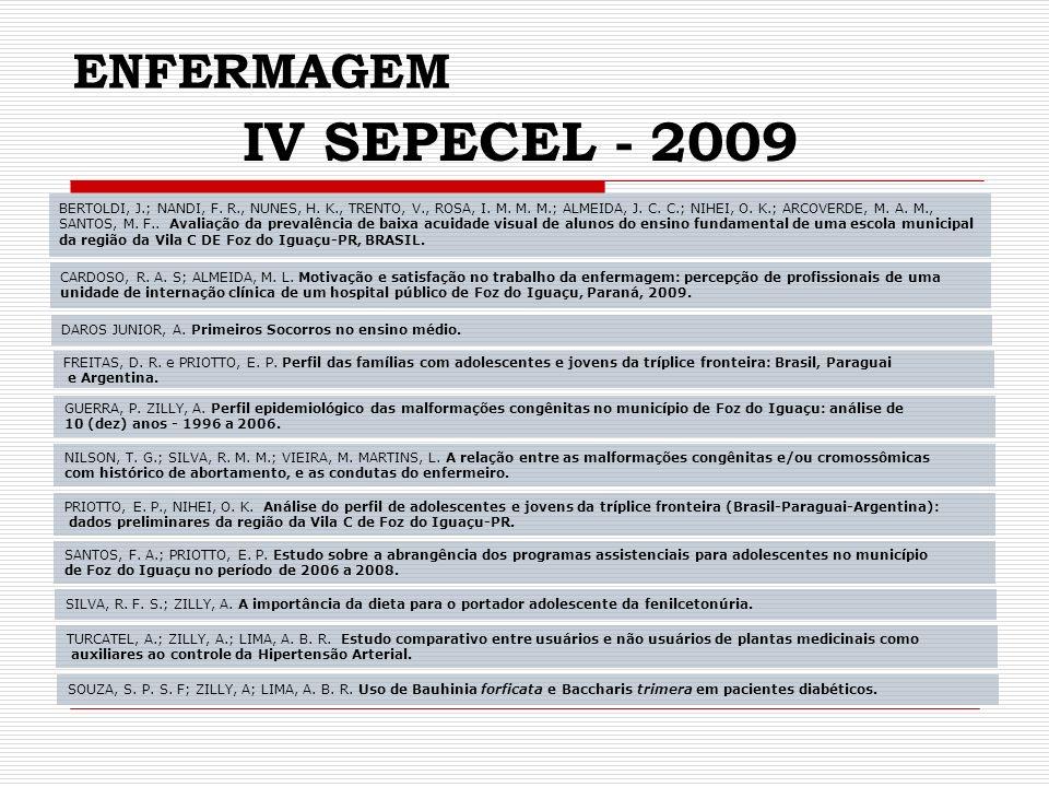 IV SEPECEL - 2009 ENFERMAGEM