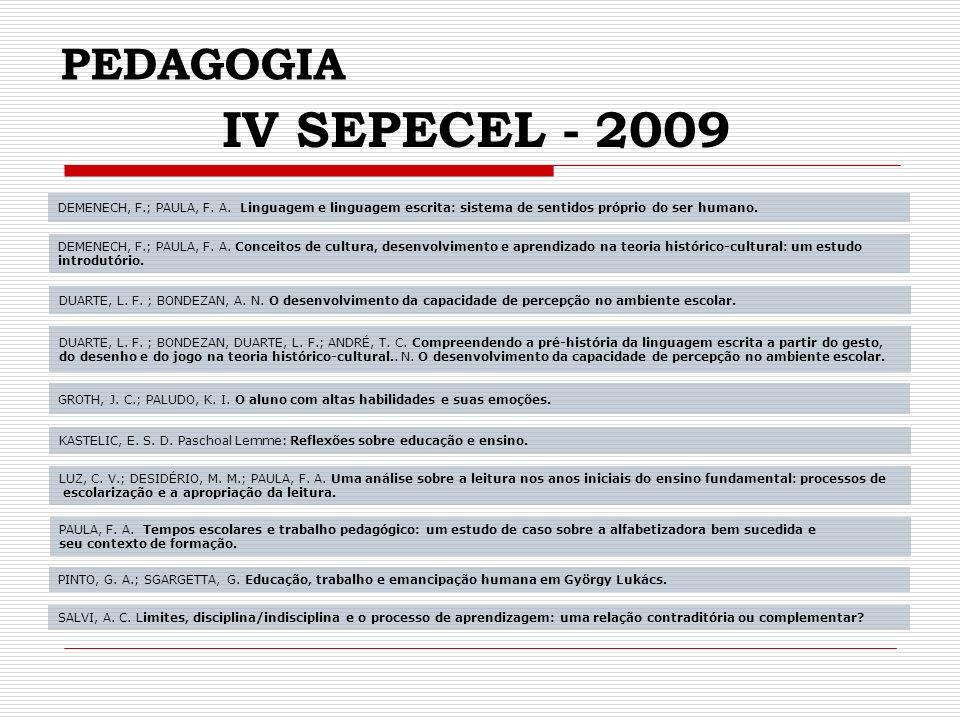 PEDAGOGIA IV SEPECEL - 2009. DEMENECH, F.; PAULA, F. A. Linguagem e linguagem escrita: sistema de sentidos próprio do ser humano.