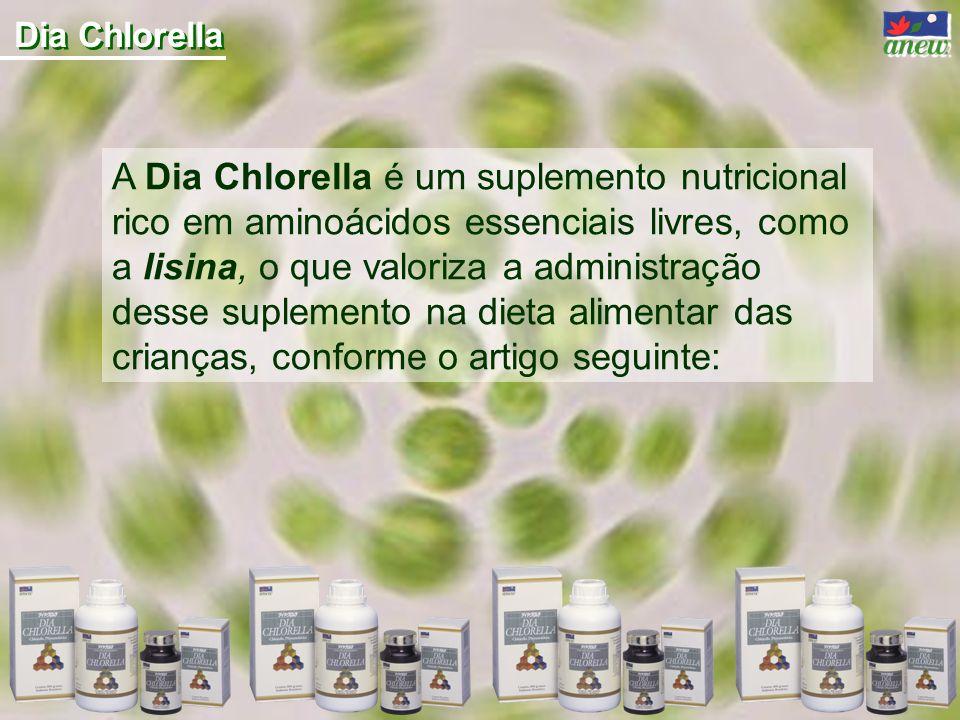 A Dia Chlorella é um suplemento nutricional rico em aminoácidos essenciais livres, como a lisina, o que valoriza a administração desse suplemento na dieta alimentar das crianças, conforme o artigo seguinte: