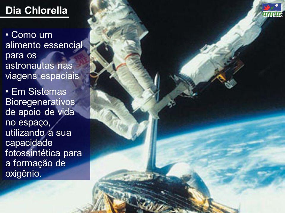 Dia Chlorella Como um alimento essencial para os astronautas nas viagens espaciais.