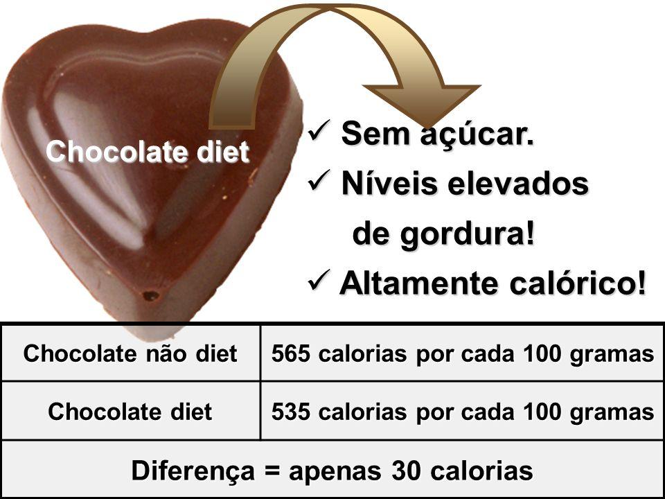 Sem açúcar. Níveis elevados de gordura! Altamente calórico!