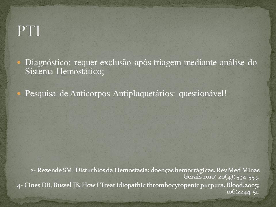 PTI Diagnóstico: requer exclusão após triagem mediante análise do Sistema Hemostático; Pesquisa de Anticorpos Antiplaquetários: questionável!