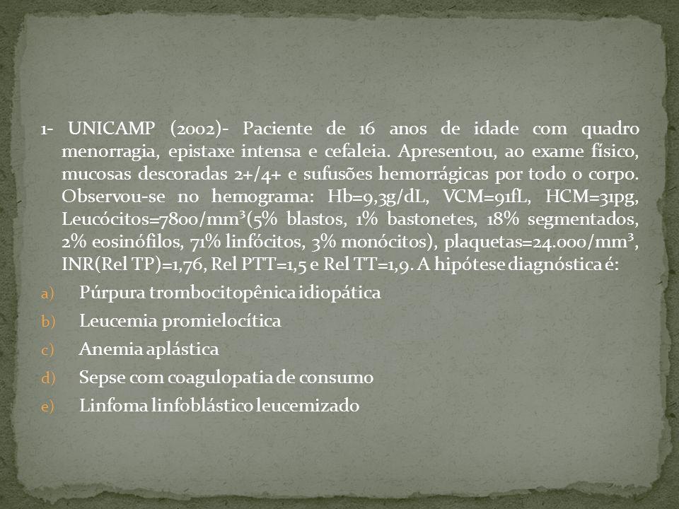 1- UNICAMP (2002)- Paciente de 16 anos de idade com quadro menorragia, epistaxe intensa e cefaleia. Apresentou, ao exame físico, mucosas descoradas 2+/4+ e sufusões hemorrágicas por todo o corpo. Observou-se no hemograma: Hb=9,3g/dL, VCM=91fL, HCM=31pg, Leucócitos=7800/mm³(5% blastos, 1% bastonetes, 18% segmentados, 2% eosinófilos, 71% linfócitos, 3% monócitos), plaquetas=24.000/mm³, INR(Rel TP)=1,76, Rel PTT=1,5 e Rel TT=1,9. A hipótese diagnóstica é: