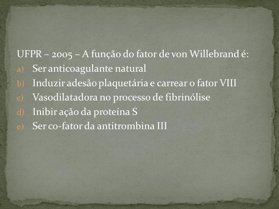 UFPR – 2005 – A função do fator de von Willebrand é: