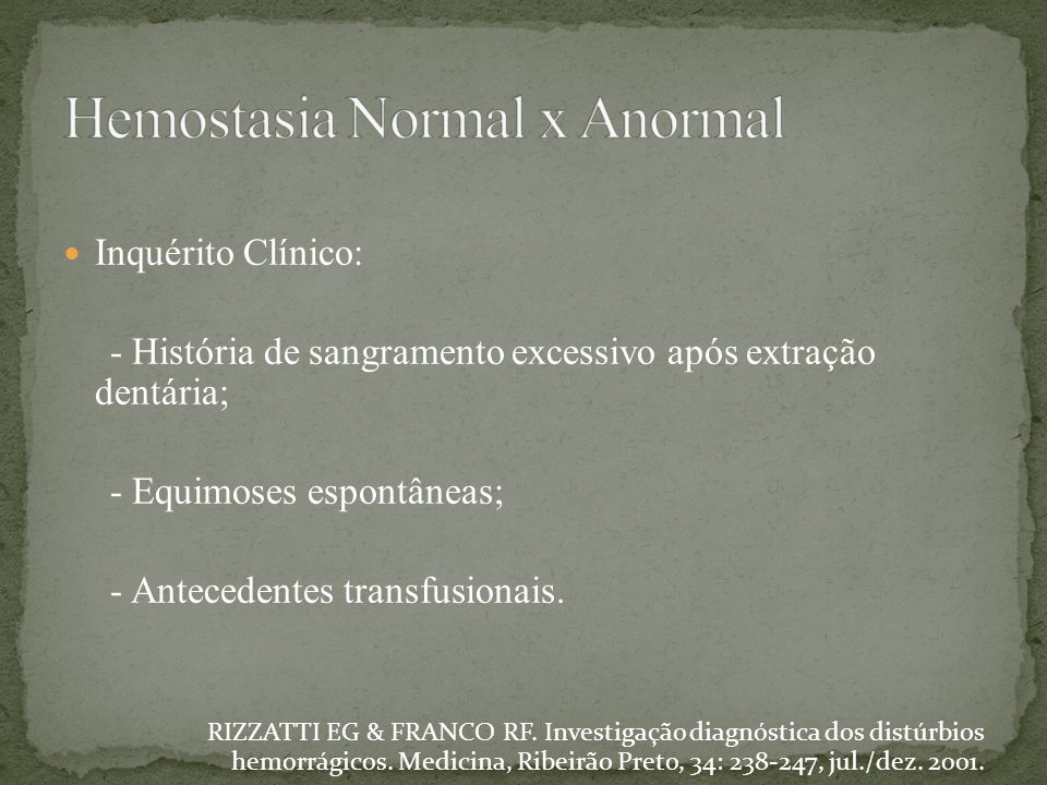 Hemostasia Normal x Anormal