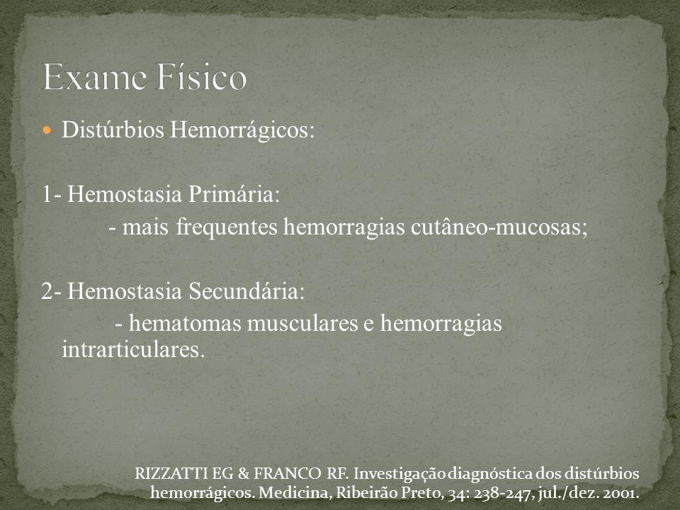 Exame Físico Distúrbios Hemorrágicos: 1- Hemostasia Primária: