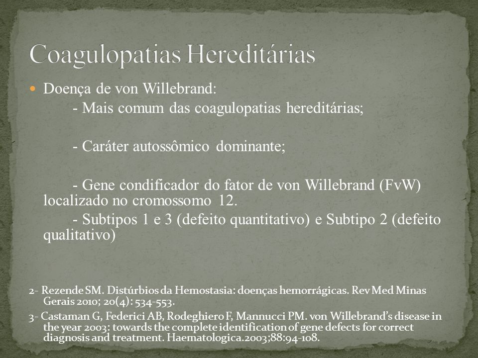 Coagulopatias Hereditárias