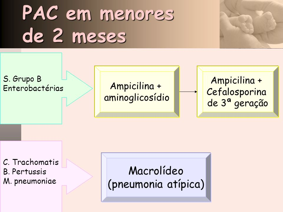 PAC em menores de 2 meses Macrolídeo (pneumonia atípica) Ampicilina +