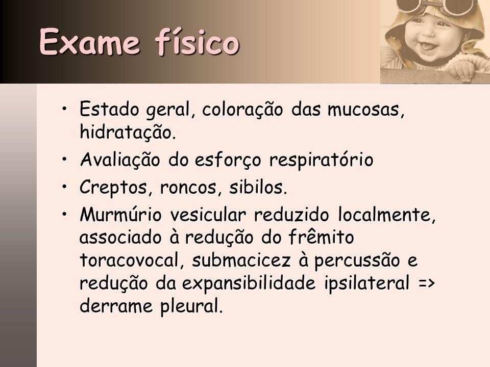 Exame físico Estado geral, coloração das mucosas, hidratação.