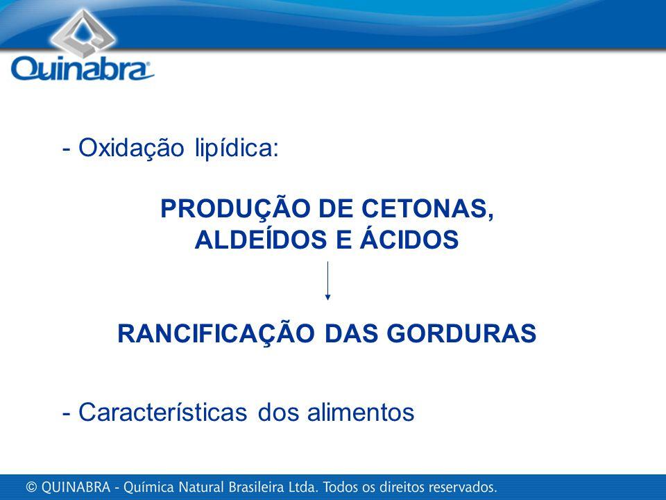 - Características dos alimentos PRODUÇÃO DE CETONAS, ALDEÍDOS E ÁCIDOS