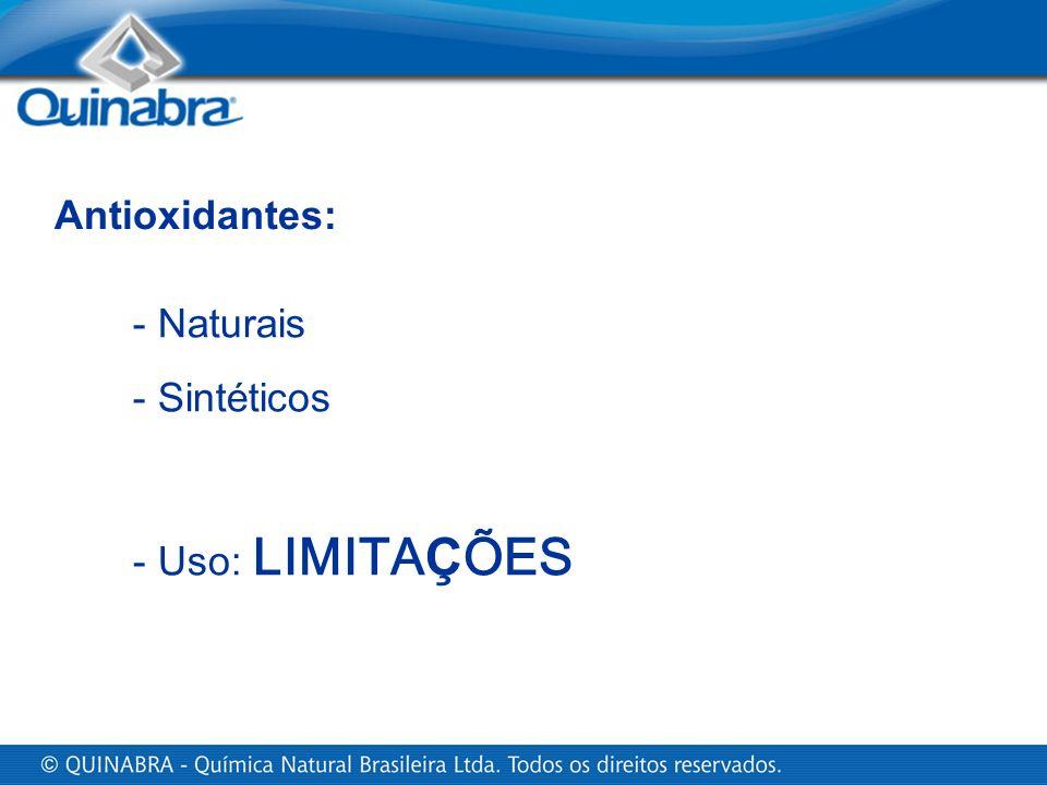 Antioxidantes: - Naturais Sintéticos Uso: LIMITAÇÕES