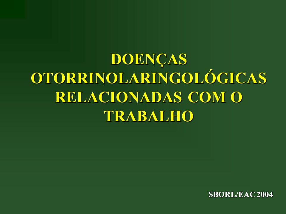 DOENÇAS OTORRINOLARINGOLÓGICAS RELACIONADAS COM O TRABALHO