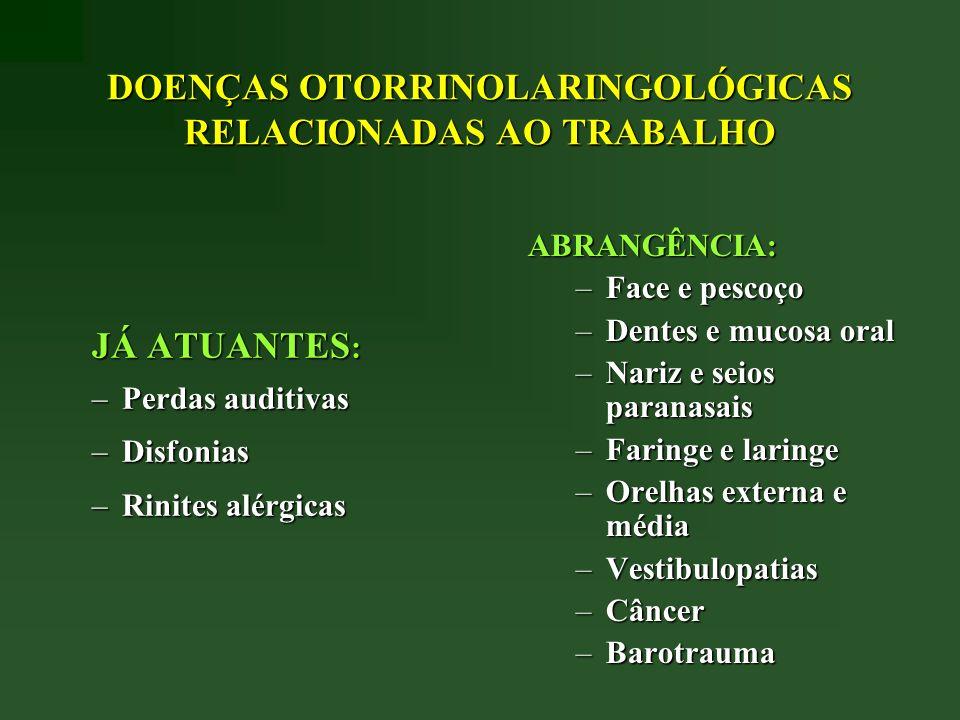 DOENÇAS OTORRINOLARINGOLÓGICAS RELACIONADAS AO TRABALHO