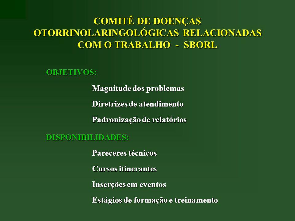 COMITÊ DE DOENÇAS OTORRINOLARINGOLÓGICAS RELACIONADAS COM O TRABALHO - SBORL