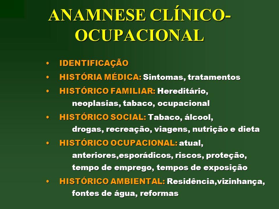 ANAMNESE CLÍNICO-OCUPACIONAL