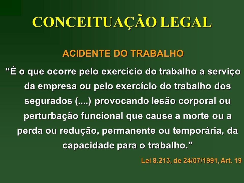 CONCEITUAÇÃO LEGAL ACIDENTE DO TRABALHO