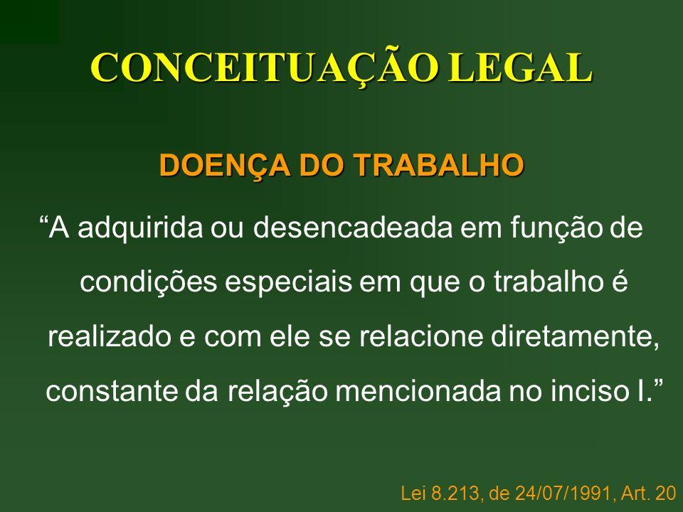 CONCEITUAÇÃO LEGAL DOENÇA DO TRABALHO