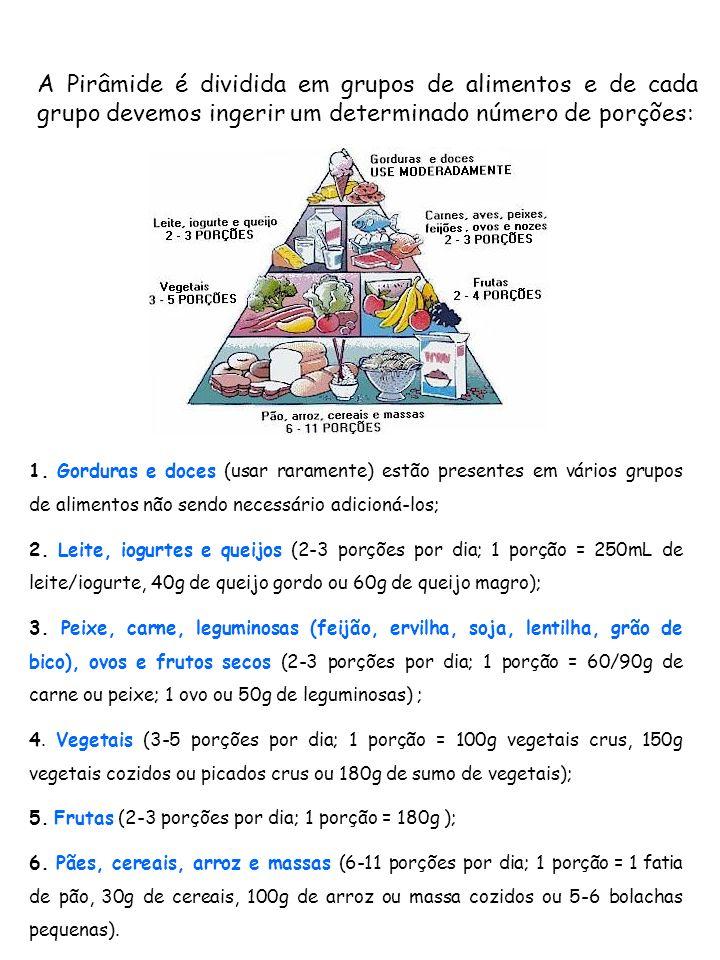 A Pirâmide é dividida em grupos de alimentos e de cada grupo devemos ingerir um determinado número de porções: