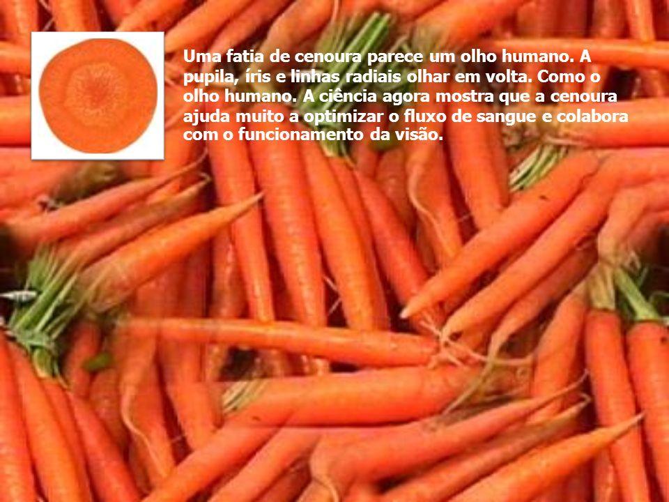 Uma fatia de cenoura parece um olho humano