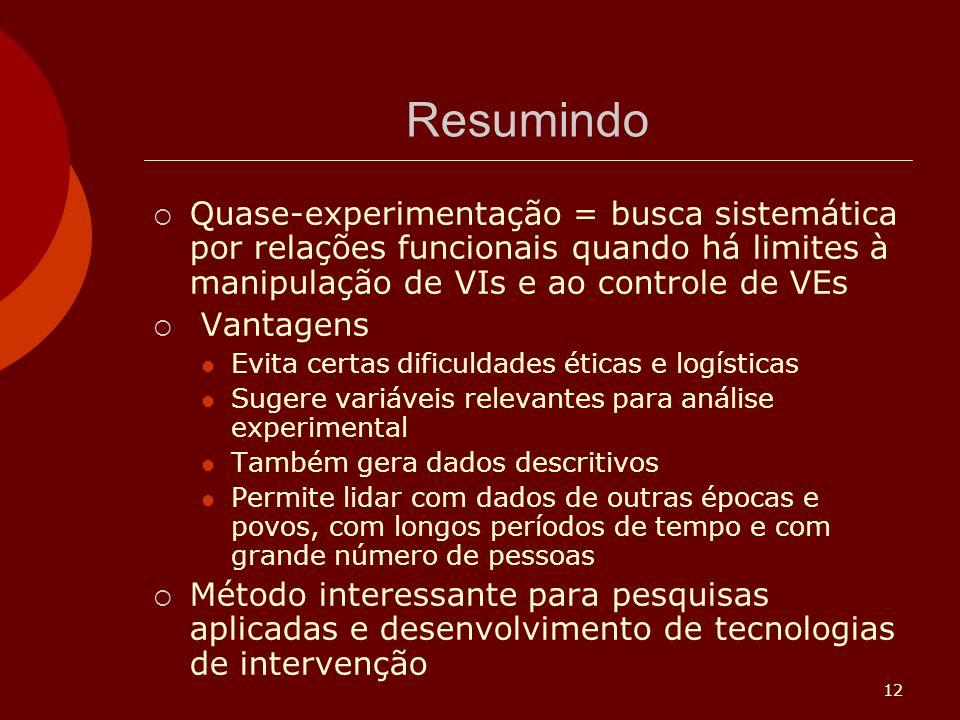 Resumindo Quase-experimentação = busca sistemática por relações funcionais quando há limites à manipulação de VIs e ao controle de VEs.