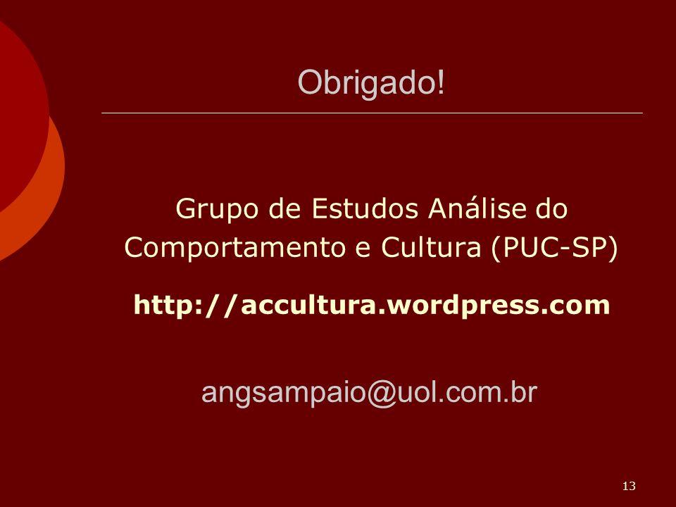 Obrigado! angsampaio@uol.com.br Grupo de Estudos Análise do