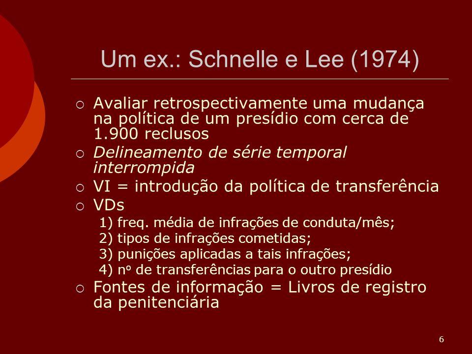 Um ex.: Schnelle e Lee (1974) Avaliar retrospectivamente uma mudança na política de um presídio com cerca de 1.900 reclusos.